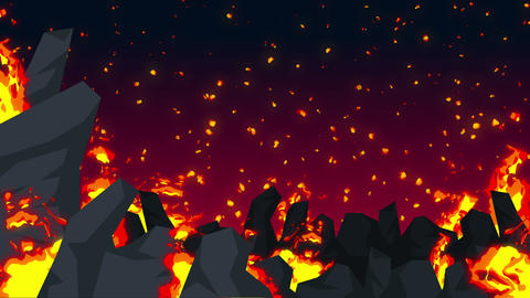 Evil abstract animation, Apocalyptic hell background, Fire flames on spooky Animation