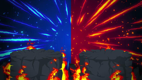 Cartoon fire animation. Flame loop background. Competition. Battle game CG動画素材