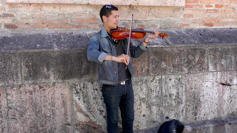 Cuenca, Ecuador - 20180920 - Man Plays Violin For Tips - with Sound Footage