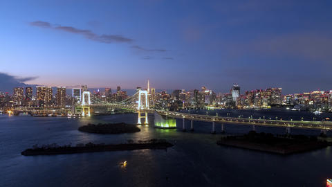 TimeLapse - Urban landscape in the evening of Tokyo Zoom in Footage