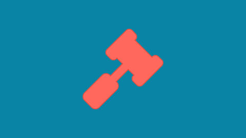 Behind the squares appears the symbol gavel. In - Out. Alpha channel Animation