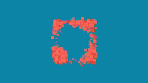 Behind the squares appears the symbol h square. In - Out. Alpha channel Animation