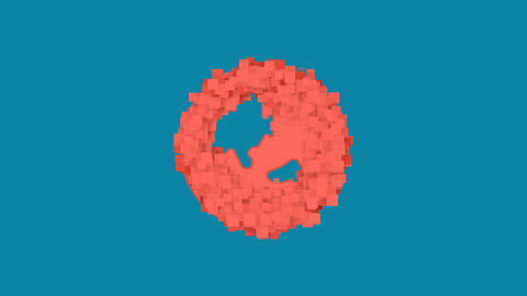 Behind the squares appears the symbol globe asia. In - Out. Alpha channel Animation