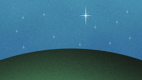 Beautiful Glittering Stars and Grass Hill Cutout Background Live Action