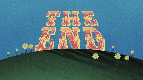 THE END Title on a Hill in an Old Cutout Style Footage