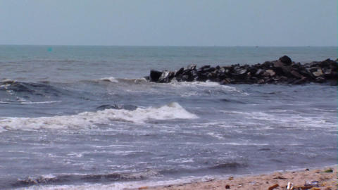 Polluted beach in Africa zoom out Footage
