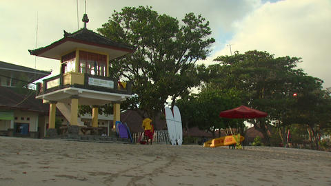 Watchtower on a beach in Bali Footage