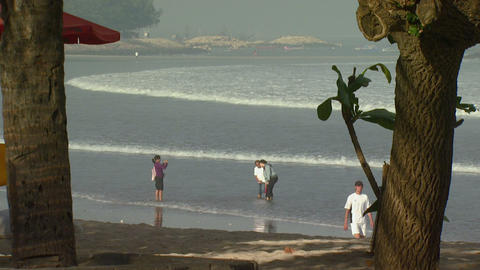 Far shot of a beach through trees in Bali Footage