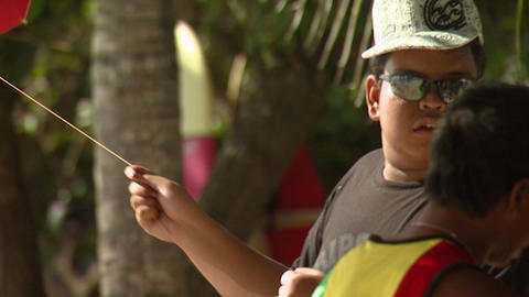 Boy flying a kite in Bali Footage
