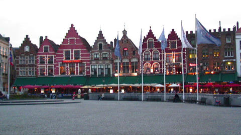 City plaza and colorful buildings in Brugge, Belgium Live Action