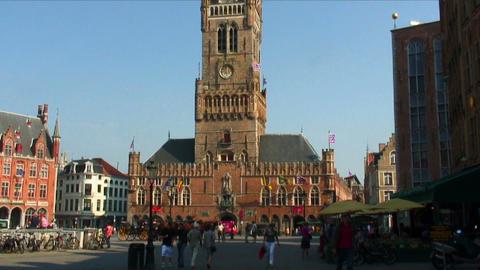 Tilt down of the Belfry of Bruges, Belgium Live Action