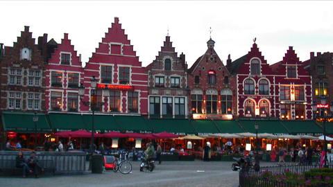 Evening scene at the Market Square of Bruges, Belgium Live Action