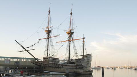 Mayflower at dusk in Massachusetts Footage