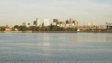 Boston from across the Charles River in Massachusetts Footage