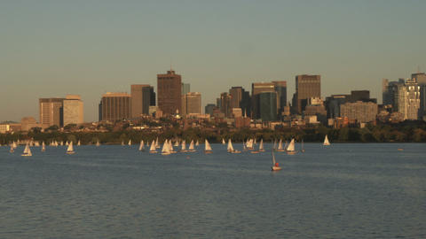 Shot of Boston from across the Charles River at sunset Footage