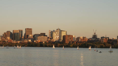 Boston sunset cityscape from across the Charles River Footage