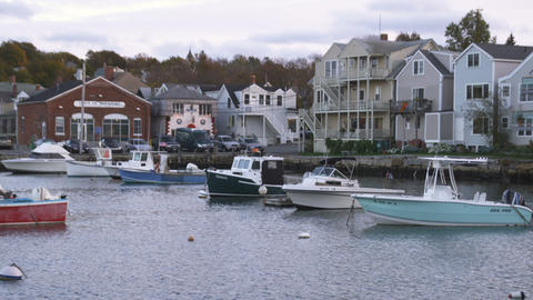 Shot of Rockport Harbor at dusk in Massachusetts Footage