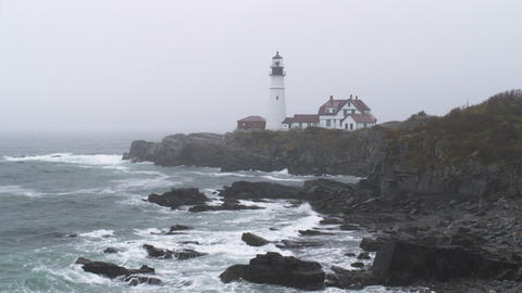 Portland Head Light station in the rain in Maine Footage