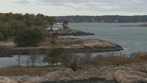 Massachusetts coastline near Marblehead in Autumn Footage