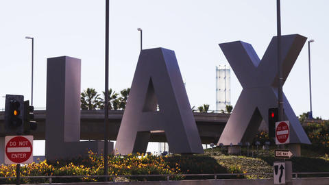 Los Angeles Airport (LAX) sign outside the airport Footage