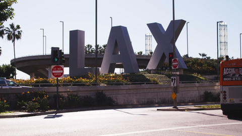 Shot of the Los Angeles Airport (LAX) sign Footage