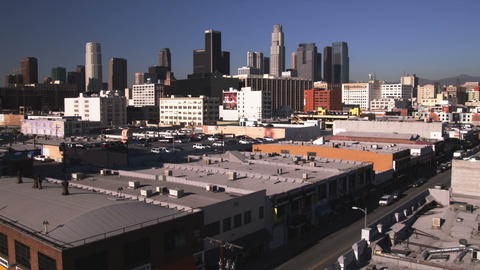 Far shot of Los Angeles skyline Live Action