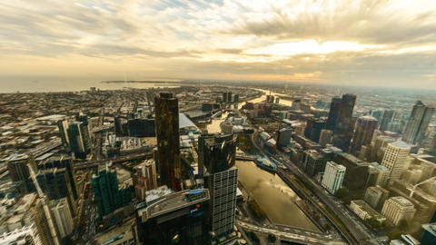 Sunset Aerial view of Melbourne Cityscape, Time lapse brush stroke effect Footage