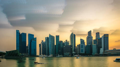 Singapore City Skyline Sunset. Time Lapse Brush Stroke Effect Footage