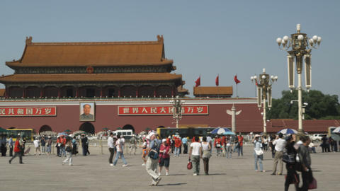 Panning shot of Tiananmen Square in China Footage