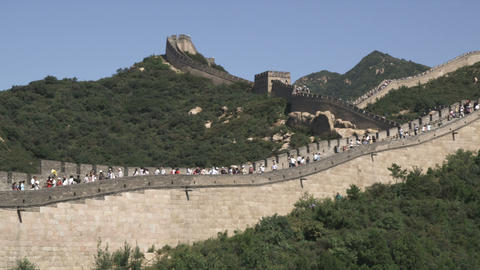 Pan of the Great Wall of China in the Badaling section Live Action