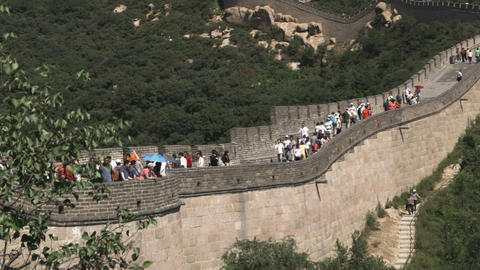 Pan of the Badaling section of the Great Wall of China Live Action