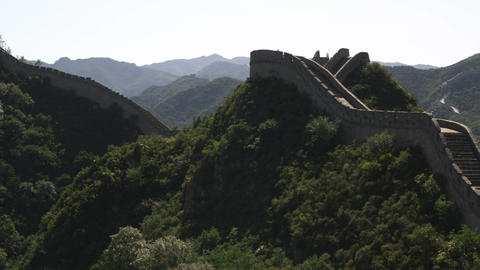 Slow panning the Great Wall of China at Badaling near Bejing, China Footage