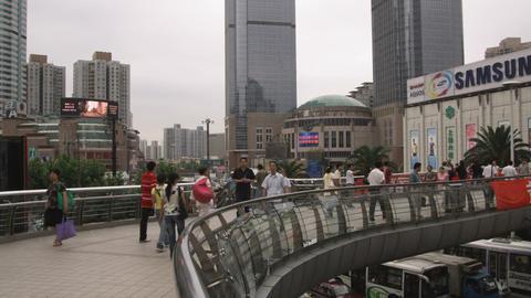 People walking in downtown Shanghai China Footage