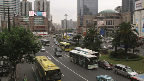 Busy traffic in downtown Shanghai China Footage