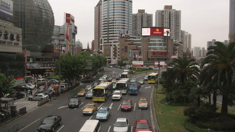 Clip of busy traffic in downtown Shanghai China Live Action