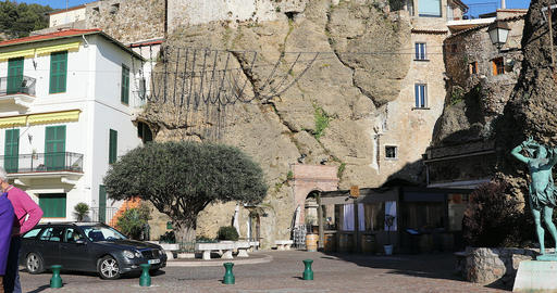 Old Olive Tree On The Old Village Square In Roquebrune-Cap-Martin Footage