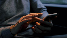 Adult Male Hands Using Mobile Phone Archivo
