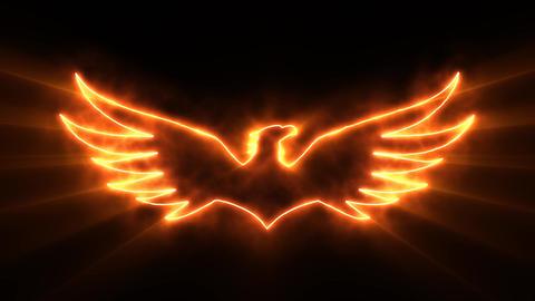 Orange Burning Eagle Logo with Reveal Effect and Light Rays Animation