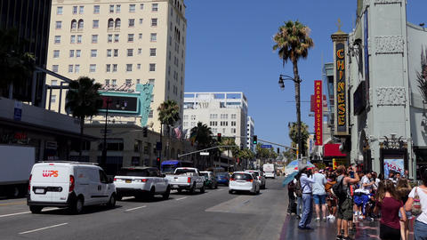 Traffic People On Hollywood Boulevard Los Angeles California USA GIF