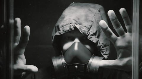 The guy in the gas mask turned on the panic button and went out of hiding Live Action