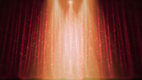 Red Curtain Shine Stars Stage Footage