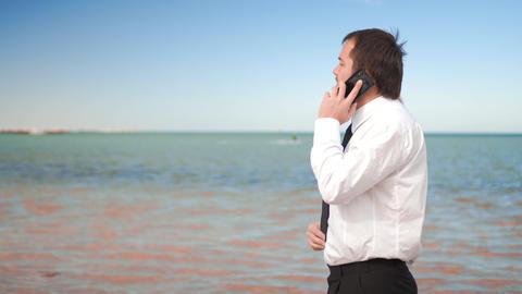 Young businessman talk on cellphone near sea Footage