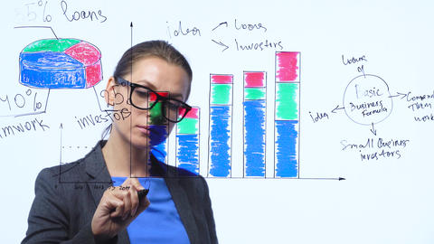 Woman draws various growth charts, calculating prospects for success in a modern Footage