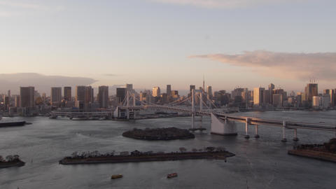 View of the Tokyo Bay and the city of Tokyo in the evening Zoom in Footage