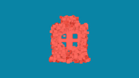 Behind the squares appears the symbol hospital. In - Out. Alpha channel Animation