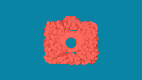 Behind the squares appears the symbol id badge. In - Out. Alpha channel Animation
