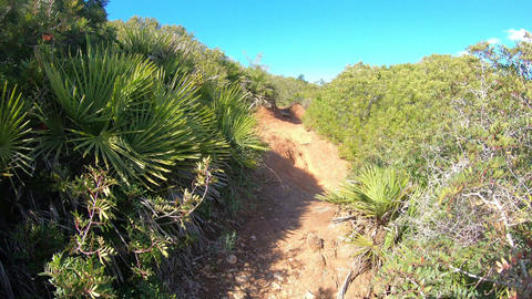 Walking on a dirt path in Alghero shoreline Live Action