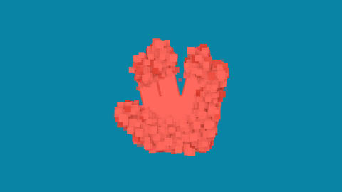 Behind the squares appears the symbol Live long and prosper. In - Out. Alpha Animation