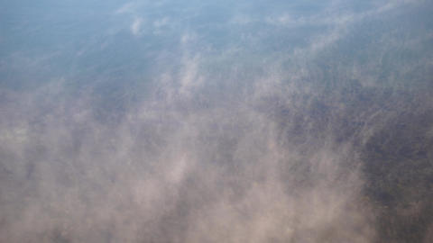 Water vapor on surface of cold icy water in river, Live Action