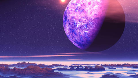 Alien Planet above the Clouds GIF